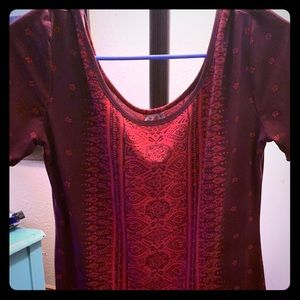 Size large mudd dress Maroon with multi colors